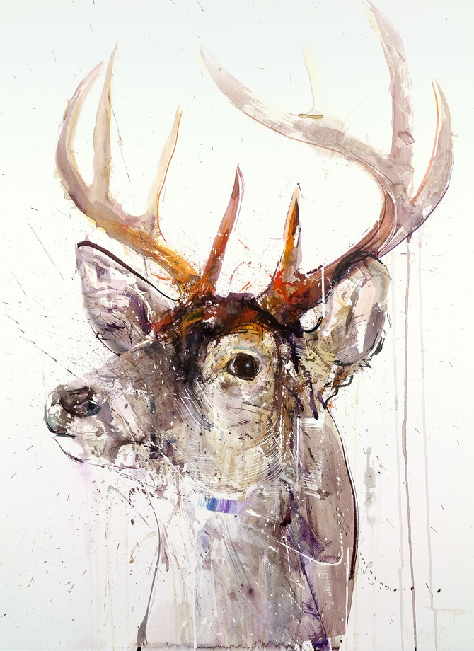 Stag I Hand Finished with Gold Leaf, 2017